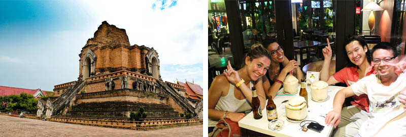 Wat Chedi Luang and the friends I made in Chiang Mai, Thailand
