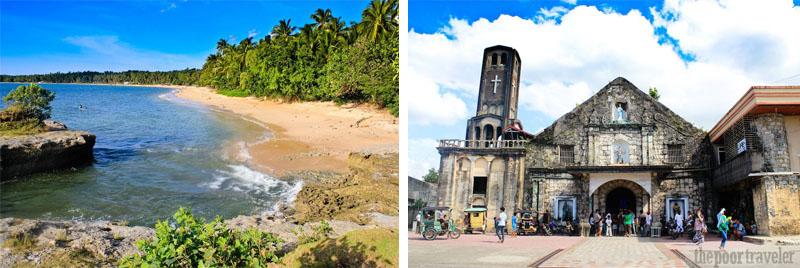 Onay Beach and Laoang Church in Laoang Island, Northern Samar