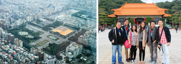View from Taipei 101 Observatory (L) and my fellow bloggers and I at the Martyrs' Shrine (R)