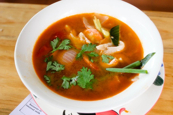 Yoshke's Tom Yum. Well, I cooked this one. Haha. When I was in Thailand, I figured I absolutely had to learn how to prepare one myself so I took a cooking class at a farm in Chiang Mai. It's not as good as I was expecting. Haha. But this was my first try.