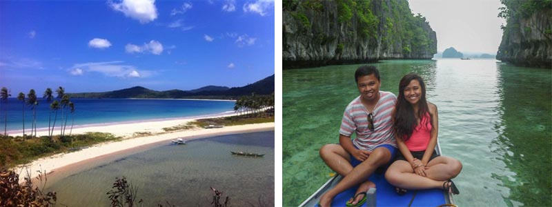 Nacpan-Calitang Beach photo by Brenna Bustamante (left) and my friend Isa and I at the Big Lagoon (right)
