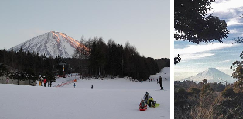 Skiing down the slope of Mt. Fuji in Kawaguchiko (left) and my first glimpse of its peak from Kamakura (right)