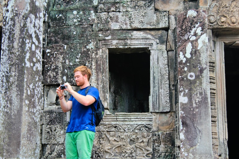At Bayon Temple in Angkor, Cambodia. I don't know why but I find him so attractive. Haha